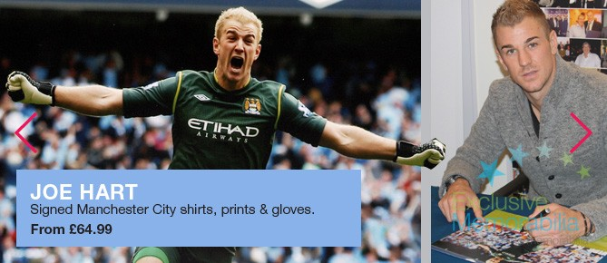 Signed Joe Hart Shirts, Gloves And Photos
