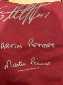 Sir Geoff Hurst And Martin Peters Signed West Ham United Football Shirt - Damaged Stock B