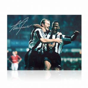 Alan Shearer Signed Newcastle Photo: With Sir Les