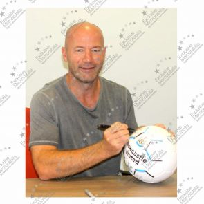 Alan Shearer Signed Newcastle United Football In Display Case