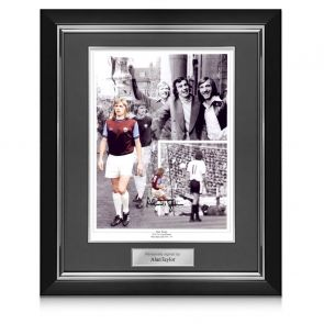 Alan Taylor Signed West Ham United Photograph: 1975 FA Cup Hero. Deluxe Frame