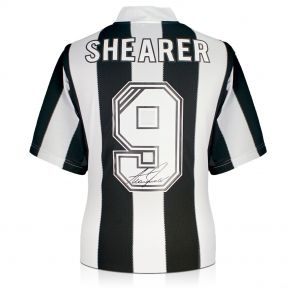 Alan Shearer Back Signed Newcastle 1996 Shirt. In Deluxe Black Frame With Silver Inlay