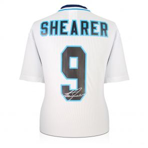 Alan Shearer Signed England Euro 1996 Shirt. In Deluxe Black Frame With Silver Inlay
