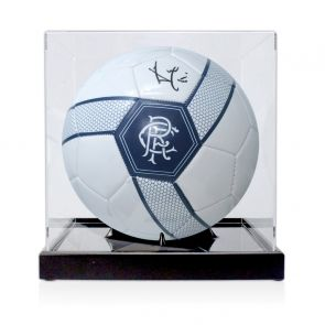 Ally McCoist Signed Rangers Football. In Display Case