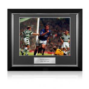 Ally McCoist Signed Rangers Photo: Goal Against Celtic. Deluxe Frame