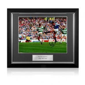 Ally McCoist Signed Rangers Photo: Old Firm Derby. Deluxe Frame