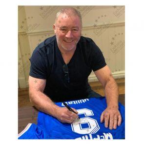 Ally McCoist Signed Rangers Shirt. Standard Frame