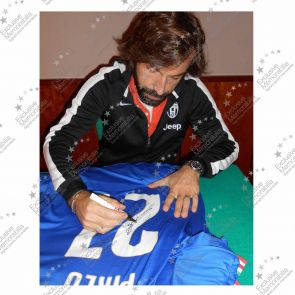 Deluxe Framed Andrea Pirlo Signed Italy 2014-15 Football Shirt (Gold Inlay)