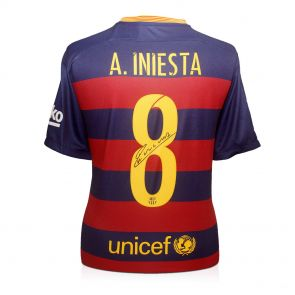Andres Iniesta Signed 2015-16 Barcelona Football Shirt In Gift Box