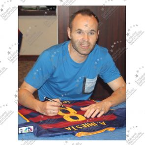 Andres Iniesta Signed 2015-16 Barcelona Football Shirt