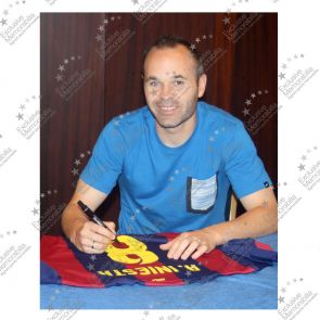 Andres Iniesta Signed 2014-15 Barcelona Football Shirt. In Deluxe Black Frame With Silver Inlay