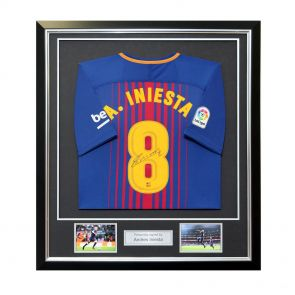 Framed Andres Iniesta Signed Barcelona Shirt