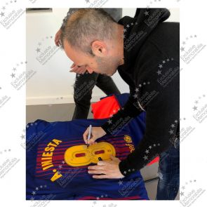 Smudged Stock - Andres Iniesta Signed 2017-18 Barcelona Home Shirt