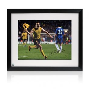 Andres Iniesta Signed Barcelona Photo: The Chelsea Goal. Framed