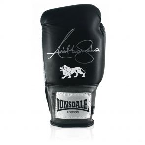 Anthony Joshua Signed Black Lonsdale Boxing Glove In Vertical Display Case