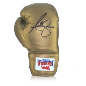 Anthony Joshua Signed Gold Lonsdale Boxing Glove In Vertical Display Case