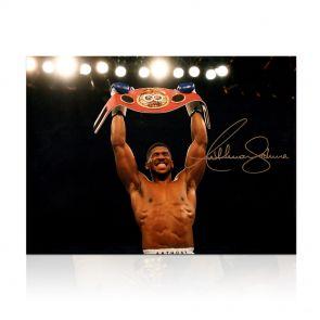 Anthony Joshua signed photo lifting belt