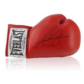 Anthony Joshua Signed Red Everlast Boxing Glove In Deluxe Black Frame With Silver Inlay