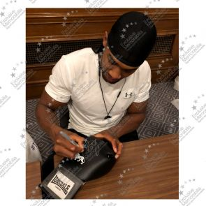 Anthony Joshua Signed Black Boxing Glove. Damaged A