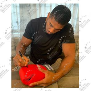 Anthony Joshua Signed Red Boxing Glove - Damaged Stock G