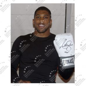 Anthony Joshua Signed White Everlast Boxing Glove In Deluxe Black Frame With Silver Inlay