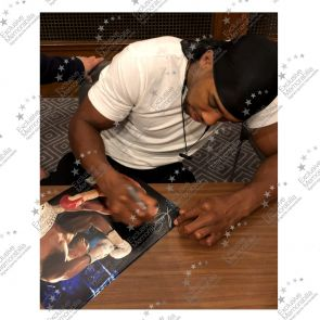 Anthony Joshua Signed Boxing Photo: Klitschko Uppercut (Landscape). Framed