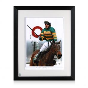 Framed AP McCoy signed horse racing photo