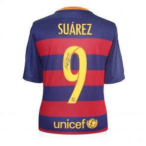 Luis Suarez Signed Barcelona 2015-16 Football Shirt In Gift Box