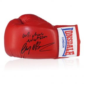 Nigel Benn And Michael Watson Signed Boxing Glove In Display Case