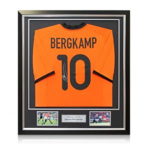 Framed Dennis Bergkamp Signed Holland Shirt