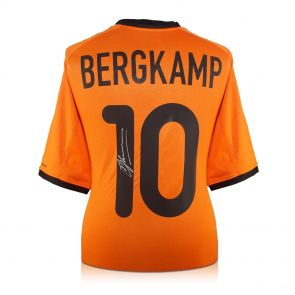 Dennis Bergkamp Signed Holland Football Shirt 2000-02. In Gift Box