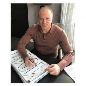 Dennis Bergkamp Signed Arsenal Heritage Invincibles Shirt Fan Style. Framed