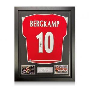 Dennis Bergkamp Signed Arsenal Invincibles Shirt. Framed