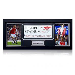 Dennis Bergkamp Signed Highbury Stadium Sign. Framed