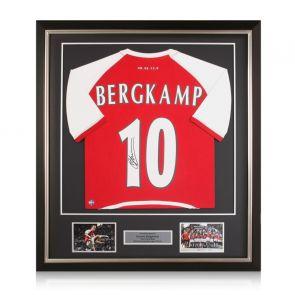Dennis Bergkamp Signed Arsenal Heritage Invincibles Shirt Fan Style. Deluxe Frame