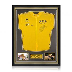 Bradley Wiggins Signed Tour De France 2012 Yellow Jersey. Superior Frame