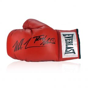 Frank Bruno And Mike Tyson Signed Red Boxing Glove. In Display Case