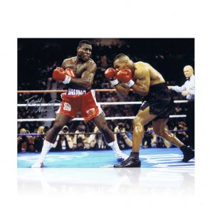Frank Bruno Signed Boxing Photograph: Fighting Mike Tyson. In Gift Box