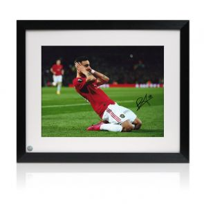 Bruno Fernandes Signed Manchester United Photo: Celebration. Framed