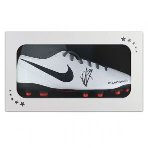 Bruno Fernandes Signed White Football Boot. In Gift Box