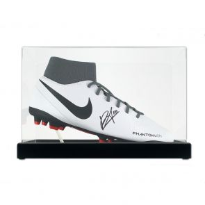 Bruno Fernandes Signed White Football Boot. In Display Case