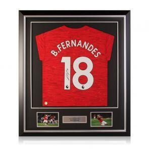 Bruno Fernandes Signed Manchester United Shirt. Deluxe Frame
