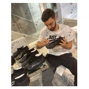 Bruno Fernandes Signed Black Football Boot. In Display Case