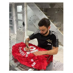 Bruno Fernandes Signed Manchester United Shirt. Standard Frame