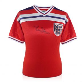Bryan Robson Signed 1982 England Red Away Jersey. In Gift Box