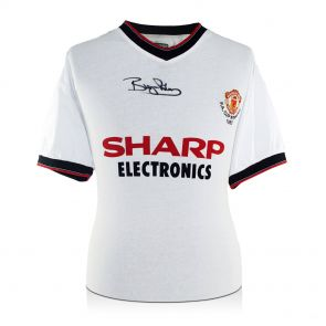 Bryan Robson Signed Manchester United 1983 White FA Cup Jersey