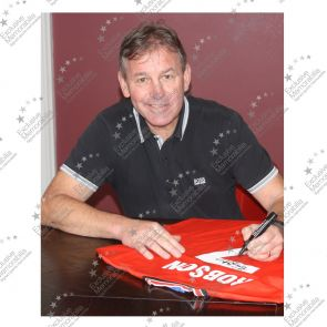 Bryan Robson Signed Manchester United Shirt 1984. In Gift Box