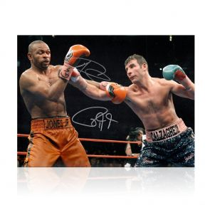 Joe Calzaghe And Roy Jones Jr Signed Boxing Photo. In Gift Box
