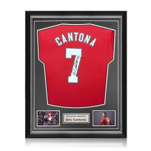 Eric Cantona Signed Manchester United 2019-20 Shirt. Superior Frame