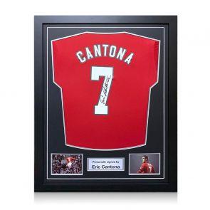 Eric Cantona Signed Manchester United 2019-20 Shirt. Framed
